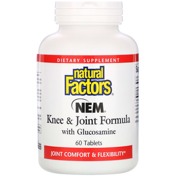 NEM Knee & Joint Formula with Glucosamine, 60 Tabletas