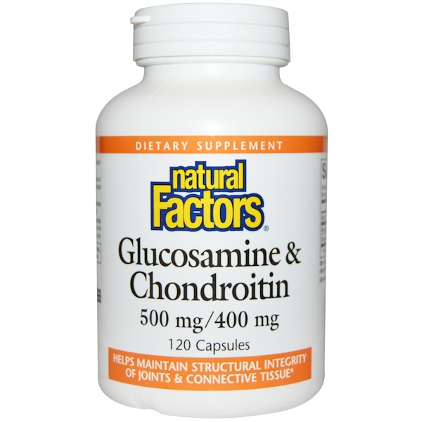 Natural Factors, Glucosamina e Condroitina, 500 mg/400 mg, 120 Cápsulas