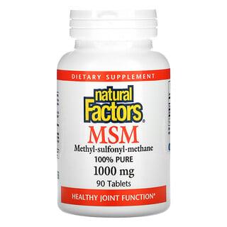 Natural Factors, MSM, 1,000 mg, 90 Tablets