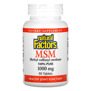 Natural Factors, MSM, Methyl-Sulfonyl-Methane, 1,000 mg, 90 Tablets