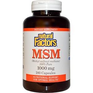 Натурал Факторс, MSM (Methyl-Sulfonyl-Methane), 1000 mg, 180 Tablets отзывы