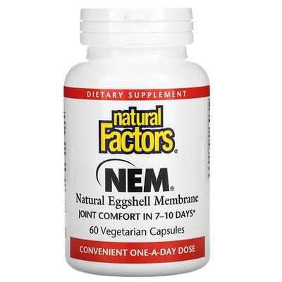 Natural Factors NEM, Natural Eggshell Membrane, 60 Vegetarian Capsules