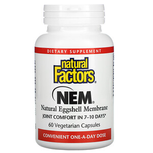 Natural Factors, NEM, Natural Eggshell Membrane,  60 Vegetarian Capsules