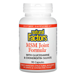 Natural Factors, MSM Joint Formula with Glucosamine & Chondroitin Sulfate, 90 Capsules