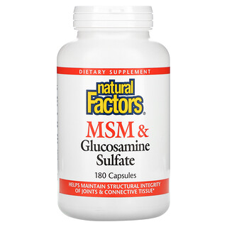 Natural Factors, МСМ и глюкозамин сульфат, 180 капсул