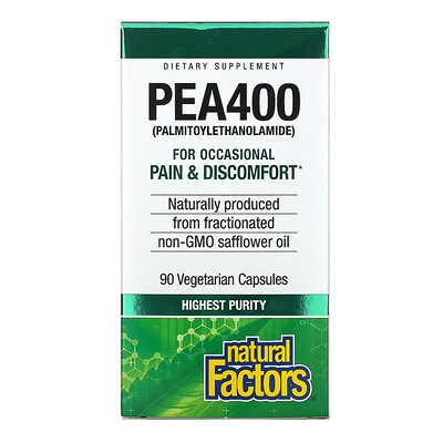 Купить Natural Factors PEA400, 90 Vegetarian Capsules