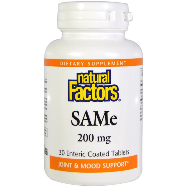 Natural Factors,  SAM-e (S-Adenosyl-L-Methionine), 200 mg, 30 Enteric Coated Tablets (Discontinued Item)