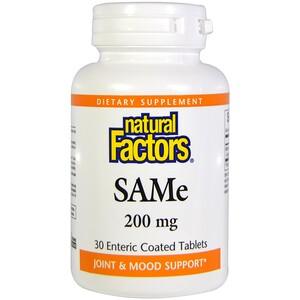 Натурал Факторс, SAM-e (S-Adenosyl-L-Methionine), 200 mg, 30 Enteric Coated Tablets отзывы