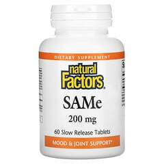 Natural Factors, SAMe,200 毫克,60 片緩釋片