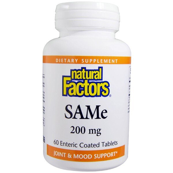 Natural Factors, SAM-e (S-Adenosyl-L-Methionine), 200 mg, 60 Enteric Coated Tablets (Discontinued Item)