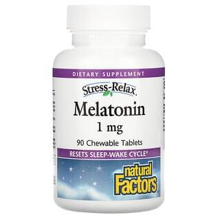 Natural Factors, Stress-Relax, Melatonin, 1 mg, 90 Chewable Tablets