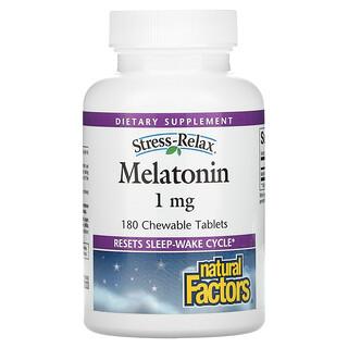 Natural Factors, Stress-Relax, Melatonin, 1 mg, 180 Chewable Tablets