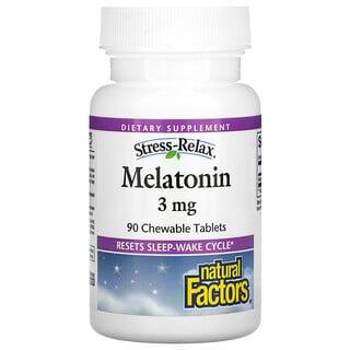 Natural Factors, Stress-Relax, Melatonina, 3 mg, 90 tabletes mastigáveis