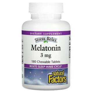 Natural Factors, Stress-Relax, Melatonin, 3 mg , 180 Chewable Tablets