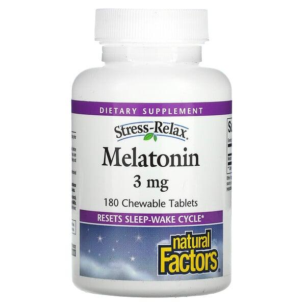 "Stress-Relax להרגעת מתח, מלטונין, 3 מ""ג, 180 טבליות לעיסות"