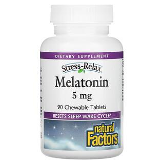 Natural Factors, Stress-Relax, Melatonin, 5 mg, 90 Chewable Tablets