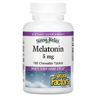 Natural Factors, Stress-Relax, Melatonin, 5 mg, 180 Chewable Tablets