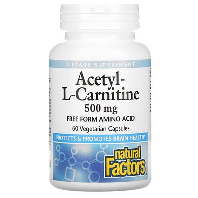 Natural Factors Acetyl-L-Carnitine, 500 mg, 60 Vegetarian Capsules