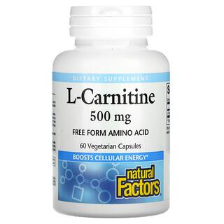 Natural Factors, L-Carnitine, 500 mg, 60 Vegetarian Capsules