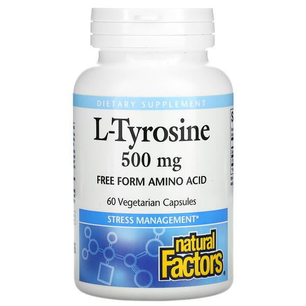 Natural Factors, L-Tyrosine, 500 mg, 60 Vegetarian Capsules
