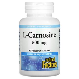 Natural Factors, L-Carnosine, 500 mg, 60 Vegetarian Capsules