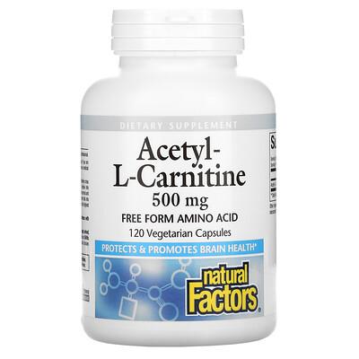 Natural Factors Acetyl-L-Carnitine, 500 mg, 120 Vegetarian Capsules