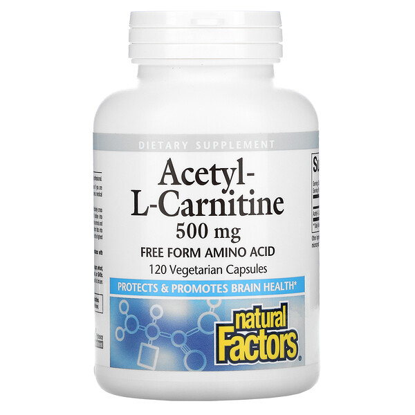 Acetyl-L-Carnitine, 500 mg, 120 Vegetarian Capsules