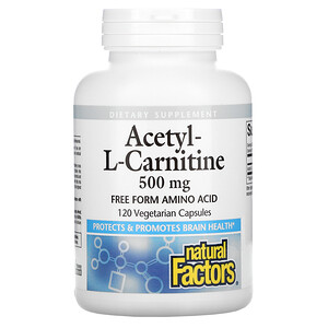 Natural Factors, Acetyl-L-Carnitine, 500 mg, 120 Vegetarian Capsules