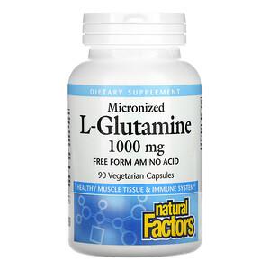 Natural Factors, Micronized L-Glutamine, 1,000 mg, 90 Vegetarian Capsules