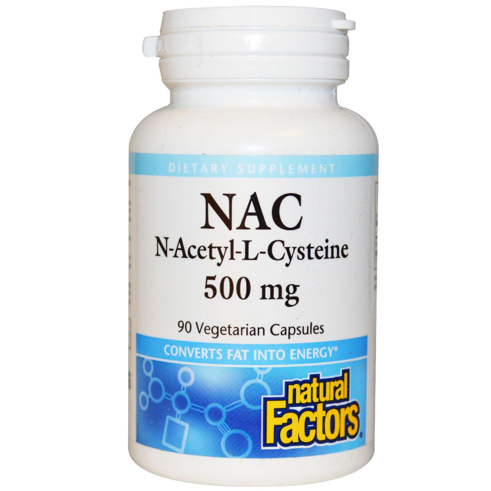 Natural Factors, Ацетилцистеин, 500 мг, 90 вегетарианских капсул