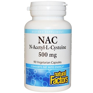 Natural Factors, NAC, N-Acetyl-L Cysteine, 500 mg, 90 Vegetarian Capsules