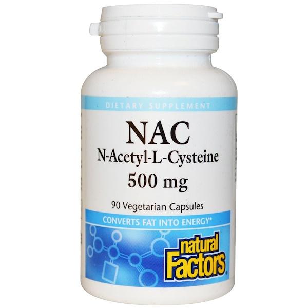 Natural Factors, N-乙酰-L-半胱氨酸,500毫克,90粒植物膠囊