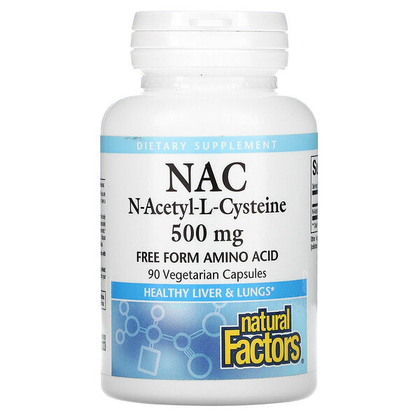 Natural Factors, NAC N-Acetyl-L Cysteine, 500 mg, 90 Vegetarian  Capsules