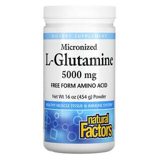 Natural Factors, Micronized L-Glutamine, Powder, 5,000 mg, 16 oz (454 g)