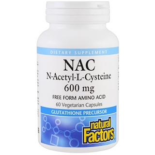 Natural Factors, NAC, N-Acetyl-L-Cysteine, 600 mg, 60 Vegetarian Capsules