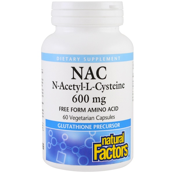 Natural Factors, NAC, N-Acetyl-L-Cysteine, 600 mg, 60 Vegetarian Capsules