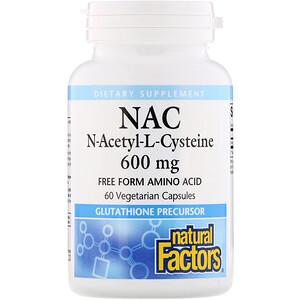 Натурал Факторс, NAC N-Acetyl-L-Cysteine, 600 mg, 60 Vegetarian Capsules отзывы