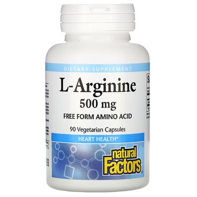 Natural Factors L-Arginine, 500 mg, 90 Vegetarian Capsules
