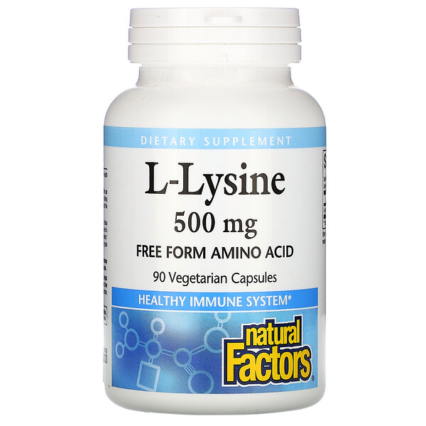 Natural Factors, L-Lysine, 500 mg, 90 Vegetarian Capsules