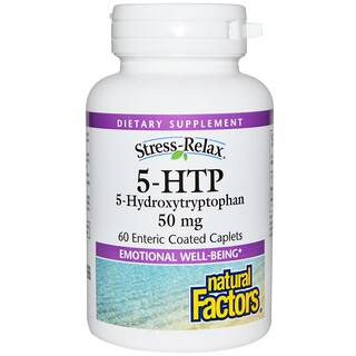 Natural Factors, Stress-Relax, 5-HTP, 50 mg, 60 Enteric Coated Caplets