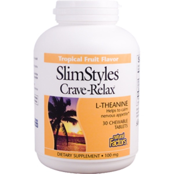 Natural Factors, SlimStyles Crave Relax, Tropical Fruit Flavor, 100 mg, 30 Chewable Tablets (Discontinued Item)