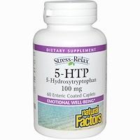 Снятие стресса, 5-гидрокситриптофан, 100 мг, 60 желудочно-резистентных капсул - фото
