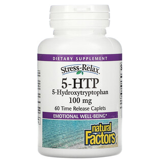 Natural Factors, Stress-Relax(ストレス-リラックス)、5-HTP、100mg、腸溶性コーティングカプレット60粒