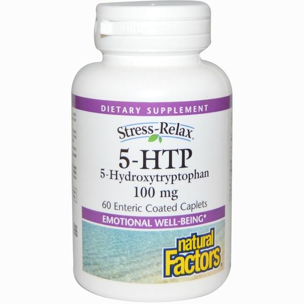 Natural Factors, Stress-Relax, 5-HTP, 100 mg, 60 Enteric Coated Caplets