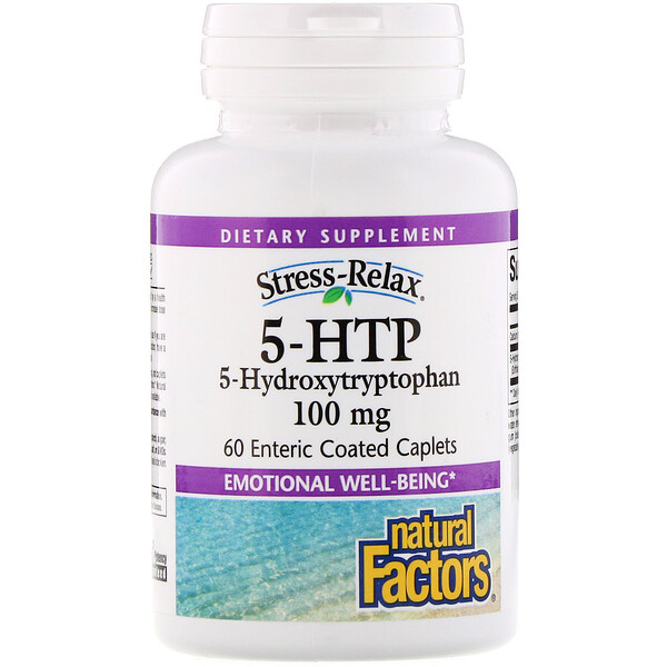 Natural Factors, Stress-Relax, 5 -HTP, 100 mg, 60 Comprimés enrobés