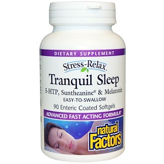 Natural Factors, Stress-Relax, Tranquil Sleep, 90 Enteric Coated Softgels