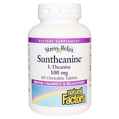 Natural Factors, Stress-Relax, Suntheanine, L-Theanine, 100 mg, 60 Chewable Tablets