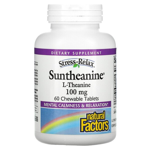 Stress-Relax, Suntheanine, L-Theanine, 100 mg, 60 Chewable Tablets