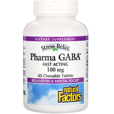 Stress-Relax, Pharma GABA, 100 мг, 60 жевательных таблеток