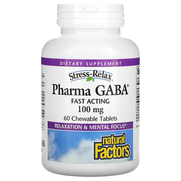 Stress-Relax, Pharma GABA, 100 mg, 60 Chewable Tablets